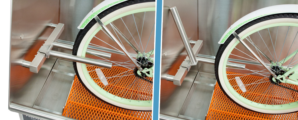 Bathtubs for Bicycles - Wheel retaining device